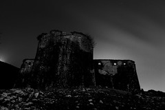 Defenceless Explored 8-4-2013 (ChrisBrn) Tags: sky bw castle night dark ruins fort bleak deserted