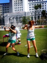 hula hooping at city hall (Toastwife) Tags: ca urban usa la amber scavengerhunt iphone adventurerace aleks challengenation challengenationla
