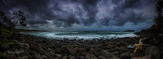 The future will be better tomorrow. (Christolakis) Tags: panorama storm clouds sunrise rocks waves pano australia nsw cookisland fingalhead 1740f40l tweedshire canon5dmklll