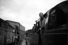 Severn Valley Railway (Riverman___) Tags: uk england blackandwhite train 50mm nikon f14 railway steam severn valley worcestershire nikkor fujiacros f6 afd