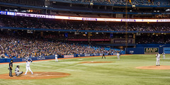 Andy Pettitte Faces the Threatening Jose Bautista (Paul Katcher) Tags: canada sports baseball newyorkyankees mlb torontobluejays rogerscentre andypettitte josebautista