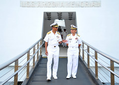 Adm. Haney and Vice Adm. Alano exit USS Arizonia memorial. (Official U.S. Navy Imagery) Tags: heritage america liberty freedom commerce unitedstates military navy sailors fast worldwide tradition usnavy protect deployed flexible onwatch beready defendfreedom warfighters nmcs chinfo sealanes warfighting preservepeace deteraggression operateforward warfightingfirst navymediacontentservice