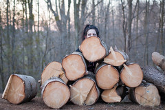 Jessica (Cobra Frames) Tags: nature girl cat 50mm woods michigan logs 5d lumberjack catlike puremichigan 5dmkii