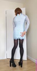 Light blue dress 2 (eileen_cd) Tags: lightbluedress patternedtights highheels back lace crossdresser transvestite cd tv