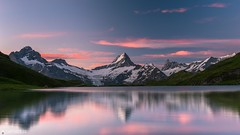 Dawn - Bachalpsee (Captures.ch) Tags: 2016 alps bachalpsee bernschweiz black blue clear clouds d800 dawn eiger finsteraarhorn gray green grindelwald july jungfrau lake landscape magenta monch morning mountains nature night nikon orange perfect red reflection schreckhorn sky summer swiss switzerland violet white