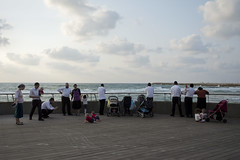 A family (Dan_lazar) Tags: bein hazmanim tel aviv israel orthodox religious       sunset beach port sea      family