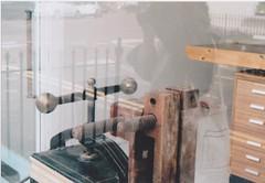 cheltenham 16 (annabelduggleby) Tags: england cheltenham pentax pentaxmesuper 35mm analogue film shootfilm filmisnotdead streetphotography workshop window studio machinary printing wood