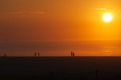 Retreat from the Sun (chantsign) Tags: sun sunrise beach water ocean orange couples people walking horizon