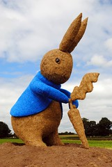 The Tale of Peter Rabbit and the Giant Carrot (zawtowers) Tags: snugburys ice cream park farm hurleston nantwich cheshire straw sculpture public art peter rabbit beatrix potter tall standing field childrens book famous well known popular 150 years since birth