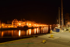 NIght rays of light (navarrodave80) Tags: dock yachts buildings lights night reflections river water longexposure nightshot nikon d3300 ustka poland davechmiel chmiel