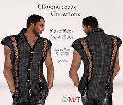Muse Mens Vest Black Ad Pic (moonlitecat) Tags: hunt your inner slut moonlitecat creation mesh slink belleze maitreya fimesh rigged high heel collar gacha spikes leather punk skirt haltertop halter top laced vest mens men women womens moon moonlite hudded texture change