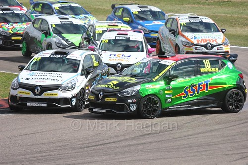 Ant Whorton-Eales and Paul Rivett at Rockingham during the Clio Cup, August 2016