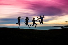 Silhouette fun (judethedude73) Tags: dusk skies colours jumping people teenagers teenphotography friendship friends laughter fun sunset wow