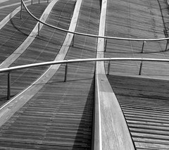 Curves and Stripes (Daren N.) Tags: toronto harbourfront boardwalk curves railing stripes boards
