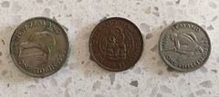 Old NZ coins 1940s & 1965 (NettyA) Tags: coins notes currency 1970s 1980s overseas travel 1965 1941 1947 nz newzealand florin halfpenny shilling