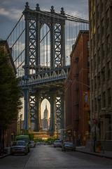 Brooklyn - Sunrise on the Manhattan Bridge (DLizbinski) Tags: brooklyn manhattan sun rise beautiful empire state building light shadows new york city