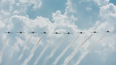 Snowbirds team wing-to-wing (PJMixer) Tags: cne nikon toronto aircraft airplane airshow clouds jet sky