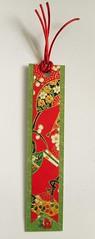 BM12 - Handmade bookmark (tengds) Tags: bookmark red green japanesepaper yuzenwashi fans flowers viscosestring papercraft handmade tengds