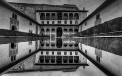 Watching from Within the Mirror (Frags of Life) Tags: alhambraspain ancient architecture builtstructure moorisharchitecture arabicarchitecture courtyard decoration granadaspain incidentalpeople indoors palaciosnazaries patio photography pond reflection tourist travel