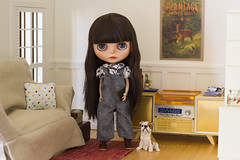 get the car keys! (JennWrenn) Tags: blythe doll custom lorshekmolseh miniature diorama sindy furniture radiogram little pet dog overalls watch leatherbag meredith