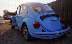 Go Big T (jpmatth) Tags: digital color canon eos 5d mk2 lenstagged ef28mm28 hometown taylorville illinois car old flat tire volkswagen beetle bug blue painted windows gobigt sunrise 2016