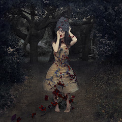 to be the victor or fall the victim (brookeshaden) Tags: flowers texture fairytale forest moss blood wire woods pri