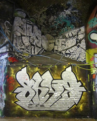 SHYE DPC (surreyblonde) Tags: streetart london writing graffiti letters tunnel spray southbank walls cans graff dpc shye leakestreet canonpowershota3350is