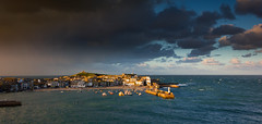 St Ives showerscape (snowyturner) Tags: lighting rain clouds boats town cornwall kayak harbour showers stives busstation