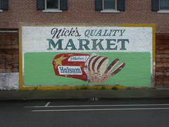 HOLSUM BREAD NICK'S QUALITY MARKET ROGUE RIVE OREGON (2) (ussiwojima) Tags: sign oregon advertising market painted ghost ghostsign rogueriver holsumbread nicksqualitymarket