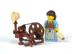 Spinning Wheel (mijasper) Tags: thread lego furniture interior yarn minifig minifigs bobbin spindle flax spinningwheel moc treadle spinnrad