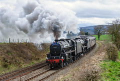 They're back (geoffspages) Tags: geotagged shropshire railway steam lms black5 45407 44871 geo:lat=5247472977078556 geo:lon=28276491165161133
