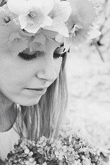 Fairy Tale (thebluehour95) Tags: pink flowers blackandwhite white green nature girl beautiful grass rose yellow digital hair outside petals spring eyes eyelashes dress purple gorgeous teen wreath blond blonde teenager crown hydrangea bouquet daffodils springtime nofilter blueyes