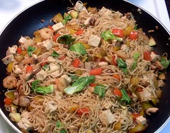 N is for Nom Nom Noodles! (Georgie_grrl) Tags: toronto ontario dinner mushrooms letters tofu shrimp garlic noodles alphabet zucchini bokchoy atoz nomnomnom redandyellowpeppers mydarkpinkside samsungd760 notquitea365project abcetc oysterandsoysaucewithginger