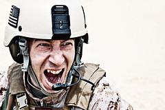 frightening (zabielin) Tags: usa infantry soldier army scary marine war ranger expression military teeth fear evil battle anger special panic scream angry marines combat scare showing troops gi nato forces furious armedforces commando armyrangers specialforces americansoldier frighten marpat showingteeth appall