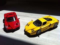 Two colors, two choices (Scuderia Phoenicia's Hobby and Die-cast models) Tags: red yellow grey model photoshoot ferrari collection enzo lamborghini lineup murcielago fabbri f50 143 minichamps fxx reventon hachette lp640 altaya 599xx collectionferrarigt collectionferrarienzo110