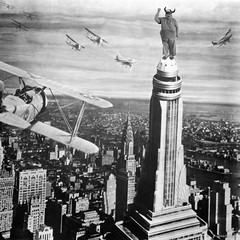 The Version Of King Kong That Wasn't  Released (dsqmary) Tags: blackandwhite newyork hat airplanes swissmiss angry kingkong empirestatebuilding shakingfist