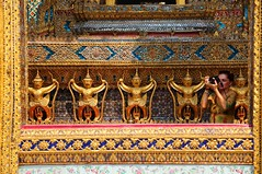 ~thailand bangkok,   WAT Phra Kaew~ (PS~~) Tags: trip travel vacation sky holiday building art architecture thailand temple photography gold golden mural asia tour place earth spires bangkok buddha buddhist religion sightseeing buddhism grand palace tourist journey planet hanuman sight reclining traveling southeast ornate visiting statuary exploration hindu siam touring deity bkk watphrakaew hindi totally illuminate thep ramayana   ravana frescoes travelphotography plated   krung     kingdomofthailand  historyremains  watpayia externaldecorationsoftheubosoth