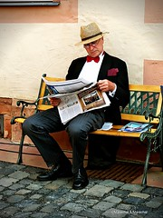 Gentleman (Sivana Marchal Art) Tags: hat bench newspaper gentleman