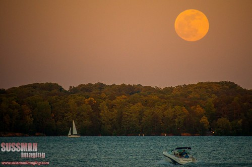 Full moon rising over Lake Lanier