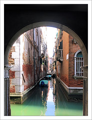 Archway (paulmcdee) Tags: city travel venice italy holiday tourism water canon canal italian europe break arch masonry tourist powershot archway narrow waterway s100 5photosaday topqualityimagesonly