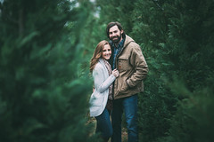 (KaraleeScouten) Tags: lighting christmas blue trees boy portrait woman tree guy nature girl face hair beard eyes louisiana couple long pretty natural bokeh farm young dirt casual vest brunette plaid