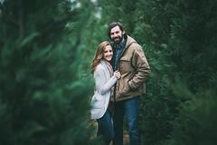 (KaraleeScouten) Tags: lighting christmas blue trees boy portrait woman tree guy nature girl face hair beard eyes louisiana couple long pretty natural bokeh farm young dirt casual vest brunette plaid