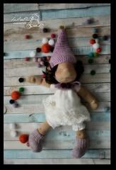 Pauline (Les PouPZ) Tags: gnomehat petitpoisdoll clothdoll artdoll naturalfiberdoll crochet knitting lace bells