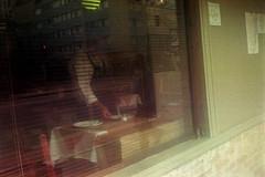 Garon? (materasu) Tags: street reflection olympus trip 35 kodak composition candid