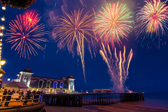 Penarth pier fireworks (technodean2000) Tags: penarth pier night lightroom nikon d610 welsh coast south wales uk water waterfront bridge architecture outdoor landscape building river fireworks blue hour