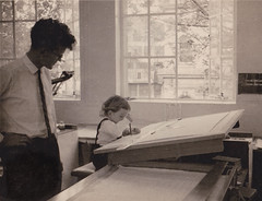 Dad and Mark at Drawing board (MarkAurelius) Tags: 1960s engineer baby son father proud monochrome work office auckland newzealand