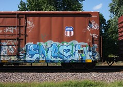 Enron (quiet-silence) Tags: graff graffiti freight fr8 train railroad railcar art enron hcm boxcar flat up unionpacific sp850143 sp