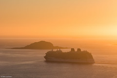 Cruising in the sunset (NikonStone (on and off)) Tags: cruise lesund cruiseship nikon d7100 britannia po pocruises sunset atlantic ocean sea golden evening august travel tourism norway
