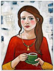 Coffee Break (Regina Lord (creative kismet)) Tags: art painting acrylic coffee tea drinking girl woman break time