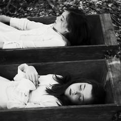 Resurrection (Dara Scully) Tags: child children chidlhood twin twins dead death resurrection portrait suggestive disturbing dark darkness transformation growup poetry grain film analogic corpse funeral revival